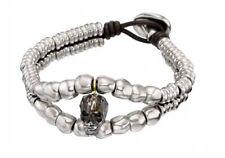 NEW Uno de 50 McGlamer Green Swarovski Crystal Skull Silver Leather Bracelet