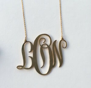 HANDMADE Personalised Monogram Necklace-18KGold Plated Silver 2''(1mm thickness)