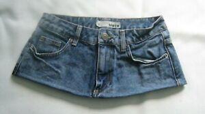 7 Inch Length Faded Blue Denim  Micro Mini Skirt - Moto - Petite Size 6
