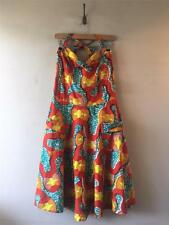 Vintage 1950s Cotton Abstract Print Halterneck Day Sun Dress UK12 14 M- L