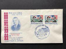 Korea Pair FDC Oct 31 1966 and Stamps Lyndon Johnson Visti