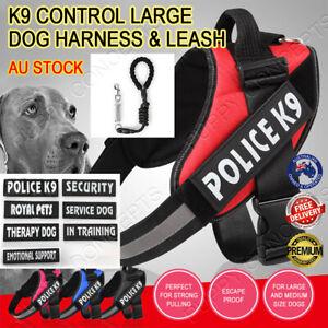Control Large Dog Harness Padded Adjustable Training Support Reflective Leash K9