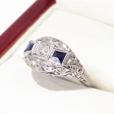 Very Nice 1940's Handmade, Diamond and Sapphire white gold engagement or cocktai