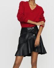 490$ Leather asymmetric  skirt short Maje black size 38 NEW
