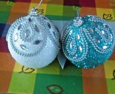 Christmas Tree Baubles WHITE & TEAL LARGE BAUBLES WITH Gem Tree Decorations