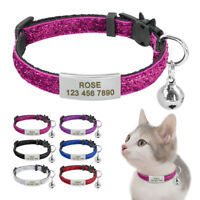 Safety Quick Release Cat Collar Personalised Slide on Pet ID Name Tags Collars