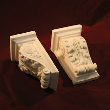 CORBELS Pair Small - Fine Plaster. Decorative Scroll Design X2