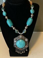 Vintage Women's Tibetan Silver Turquoise Beads and Stone  Pendant Necklace