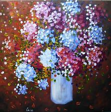 """Peinture de CARIN 50x50 cm """"TON BOUQUET""""  fleurs nature morte"""