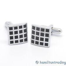 CL12 New Men's Women's Metallic Stripe Square Shaped Cuff-links Jewelry