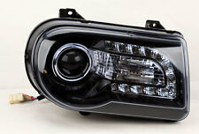 Projector LED DRL Headlights Glossy Black PAIR Fits Chrysler 300C 05-10