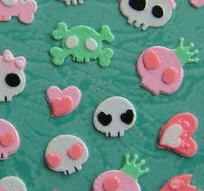 Cotton Nail Art 3D Sticker Decal Cute Pink Skull w/ Crown Bow 44pcs Halloween