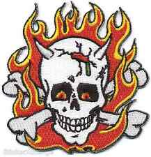 Flaming Skull PATCH Embroidered Iron-On Poster Artist Frank Kozik KP10