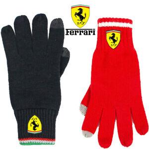 Scuderia Ferrari Team RED / Black Knitted Gloves for Winter Unisex One Size