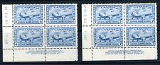 CANADA 1942 6c and 7c airmails in imprint corner blocks of 4 um/MNH. SG 399-400