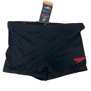 Speedo Men's SIZE 30 Swimsuit Square Leg Endurance+ Solid, Black & Red - NWT