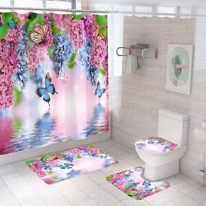 Butterfly Floral Bathroom Rug Set Shower Curtain Thick Toilet Lid Cover Bath Mat