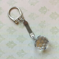 Vintage Faceted Clear Cut Crystal Ball Key Chain With Letter P