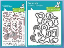 Lawn Fawn  Clear Stamp & Die Combo ~ BICYCLE BUILT FOR YOU  ~ LF1323, LF1324