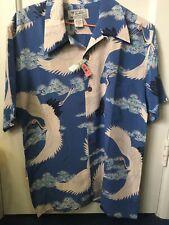 Hawaiian Shirt 100% Silk Cranes Japanese Pattern Avanti