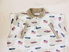 American Summer White Vtg Car Print Mens XL Short Sleeve Shirt #2