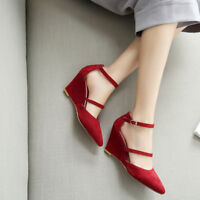 Fashion Women Pointed Toe Ankle Strap Buckle Wedge High Heels Pumps Suede Shoes