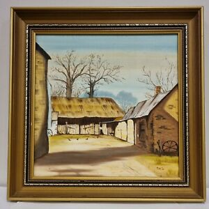 """Vintage Framed Oil Painting Of """"The Farm"""" By """"Ries"""""""