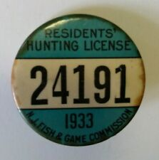 1933 NJ Residents Hunting Lisence Pinback Button NJ Fish and Game