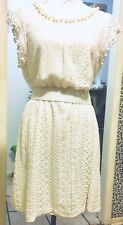 White Boho Style Short Lace Dress Cap Sleeves Scoop Neck With Pom Poms,XL