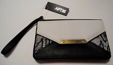 APT. 9 Black White Python Patchwork Zip Top Organizer Wristlet Clutch NEW! $30