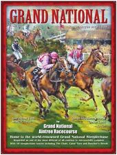 Grand National, Racecourse, Horse Racing, Jockey Mini Metal Steel Sign, Plaque