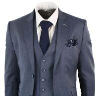 Mens Blue Grey 3 Piece Tailored Fit Smart Formal Suit Short Regular Long