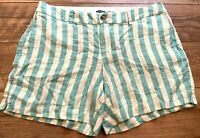 OLD NAVY Off-White Blue Striped Linen Blend Casual Everyday Shorts womens XL
