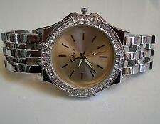 Mens big hip hop Bling designer style silver finish metal bracelet fashion watch
