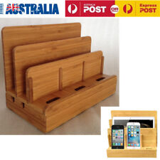 Bamboo Multi-Device Charging Station Dock Organizer Storage Box for Ipad iPhone