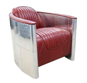 Aviator Spitfire chair in Red Vintage Retro Real Leather Fast Delivery 7-14 Days