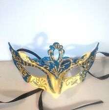 Blue & Cream Rialto Eye Mask Masquerade Ball Fancy Dress Costume Party Hen Do