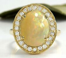 5.10CT NATURAL ETHIOPIAN OPAL AND DIAMOND 14K SOLID YELLOW GOLD RING