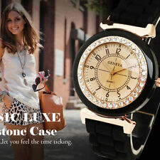 Cool On Trend Rose Gold Tone Ladies Black Quartz Sparkly Rhinestone Watch Bling