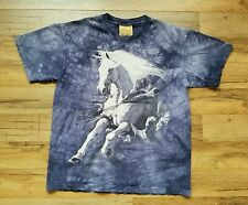 The Mountain T-Shirt White Horse Bronco Mustang Running Lavender Blue Size M