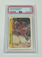 Michael Jordan 1986 Fleer Sticker NBA Basketball RC Card #8 Bulls PSA 5 EX