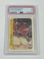 Michael Jordan 1986 Fleer Sticker NBA Basketball RC Card #8 Bulls PSA 5 EX