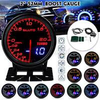 """2"""" 52mm Auto Turbo Ladedruckanzeige Zusatz Instrument Bar 12V 10 Farben LED   <"""