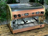 SAN MARINO LISA 2 GROUP STAINLESS GOLD AND BRONZE ESPRESSO COFFEE MACHINE CAFE