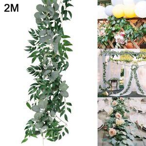 Artificial Fake Eucalyptus Garland-Wreath Greenery Leaf Vine Plant Wedding Decor