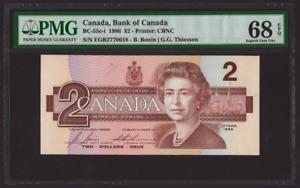 Canada 🇨🇦 1986 - $2 Dollars Bonin|Thiessen - PMG Superb Gem UNC 68 **TOP POP**