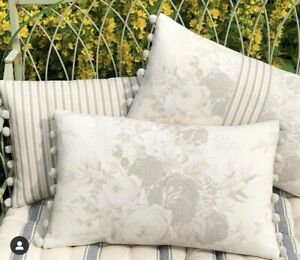 """NEW Kate Forman Oyster Roses Linen Fabric 20""""x12"""" Pom Pom or Piped Cushion Cover"""