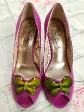 POETIC LICENCE Anthropologie Purple BUTTERFLY LOVE Wedge Heels Shoes Sz 6.5 -a9