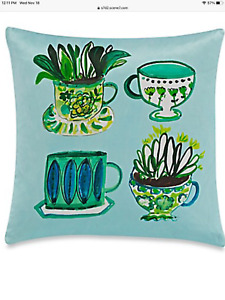 Kate Spade Silk Green Tea Time pillows brand new hard to find NWOT