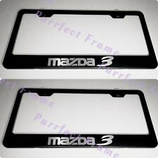 2X Mazda 3 Black Stainless Steel License Plate Frame Rust Free W/ Bolt Cap